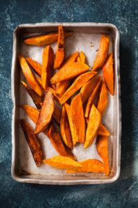 Sweet potato fries in a pan